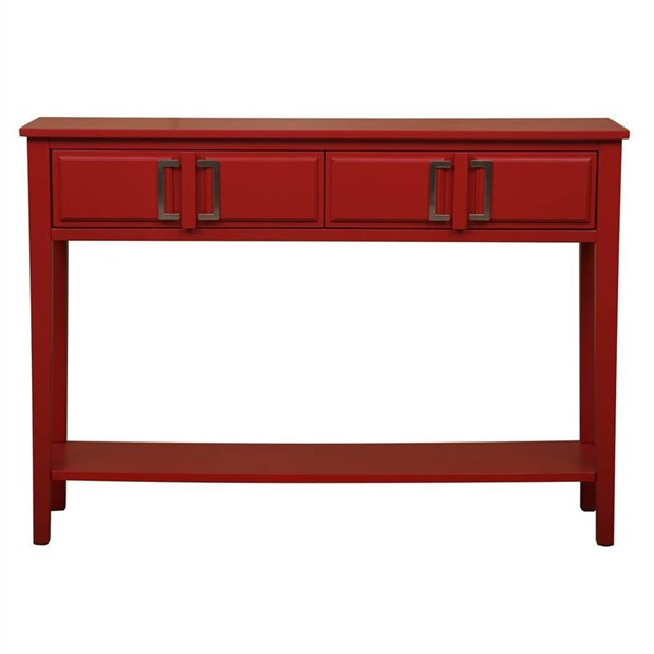 Transitional Red Two Drawers w/Metal Side Guides Console Table RH-DS-2171700-RD