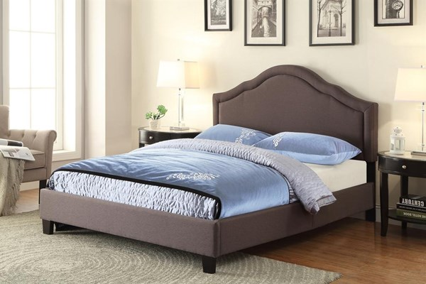Traditional Grey Trespass Slate Fabric Hardwood Upholstered Queen Bed RH-DS-2222-290
