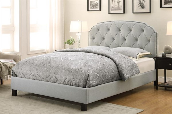 Classic Trespass Marmor Hardwood Shaped Corners Upholstered Queen Bed RH-DS-2223-290