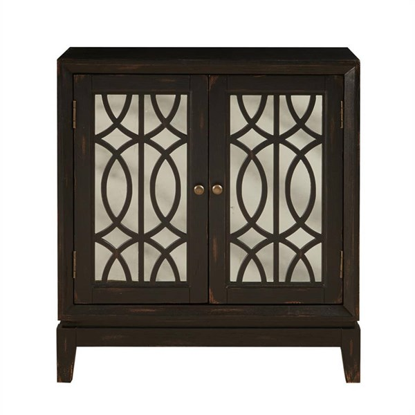 Traditional Black Two Doors w/Mirror Front & Wood Grilles Accent Chest RH-DS-2253850-BK