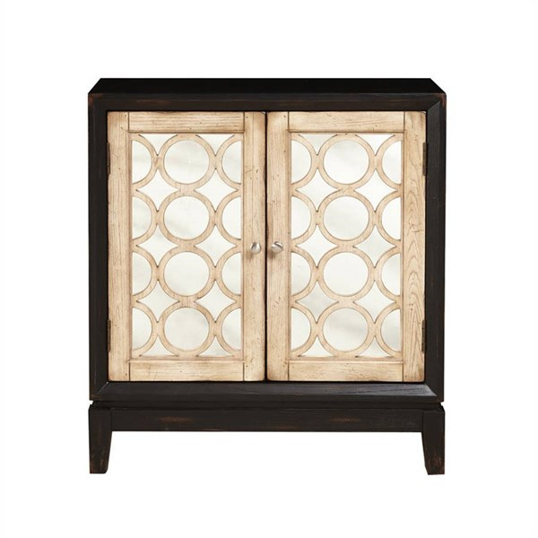 Traditional Black 2 Doors w/Mirror Fronts & Wood Grilles Accent Chest RH-DS-2253850-BW