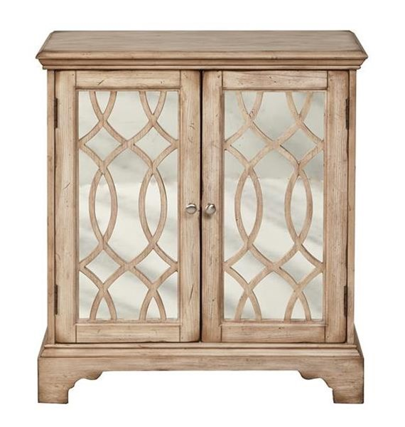 Traditional Brown 2 Doors w/Mirror Fronts & Wood Grilles Accent Chest RH-DS-2253850-RC