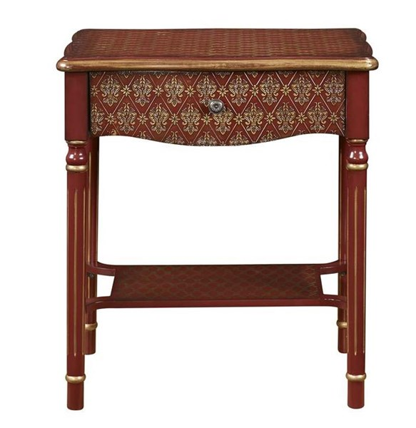 Asian Influence Red Gold Wood Drawer Accent Table RH-DS-2253850-RD