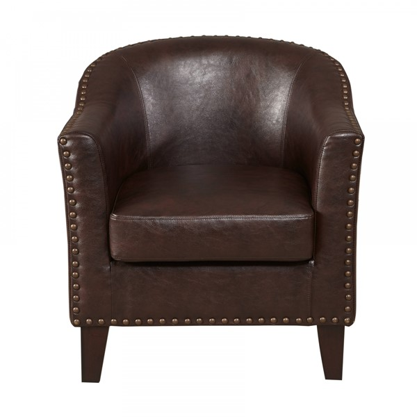 Classic Brown Hardwood Faux Leather Barrel Accent Chair RH-DS-2278-900-2