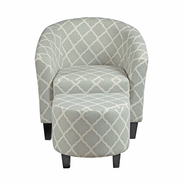 Grey Fabric Upholstered Hardwood Barrel Accent Chair And Ottoman RH-DS-2278-900-5