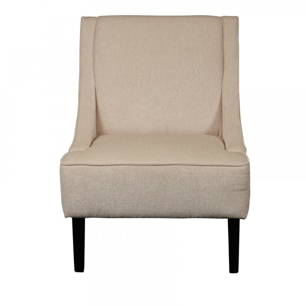 Modern Beige Fabric Upholstered Hardwood Swoop Arm Accent Chair RH-DS-2279-900-4