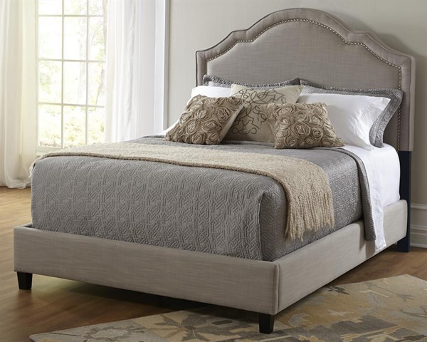 Traditional Grey Fabric Hardwood Nailhead Upholstered Queen Headboard RH-DS-2286-250