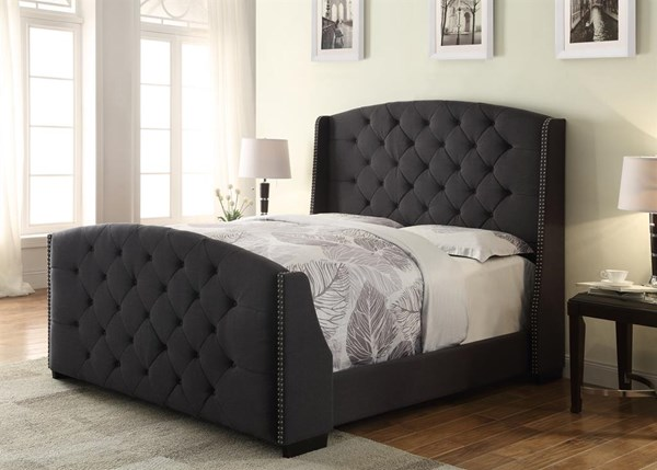 Linosa Grey Wood Fabric Queen Upholstered Headboard & Footboard RH-DS-2287-252-LC