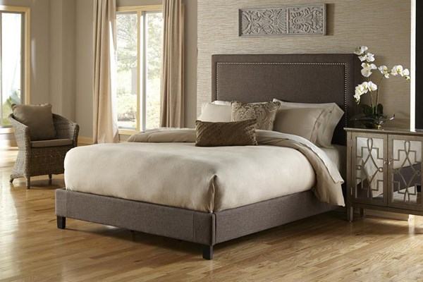 Brown Fabric Hardwood Square Nailhead King Footboard And Rails RH-DS-2291-271