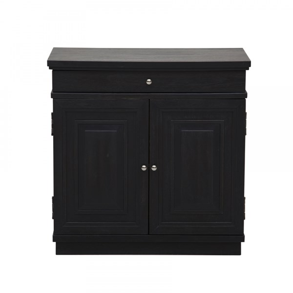 Neoclassic Charcoal Wood One Drawer & Two Doors w/Storage Shelf Chest RH-DS-2498850