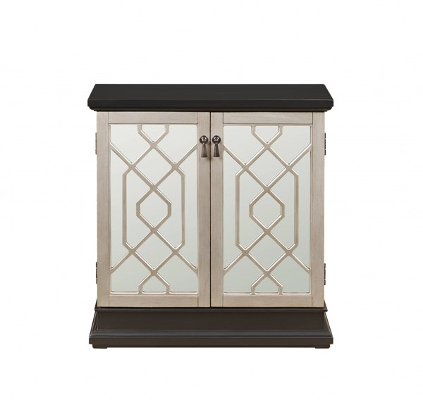 Contemporary Two Doors w/Shelf Storage Metallic Silver Fretwork Chest RH-DS-2499850