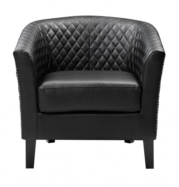 Black Faux Leather Hardwood Casino Midnight Dining Chair RH-DS-2515-900-398