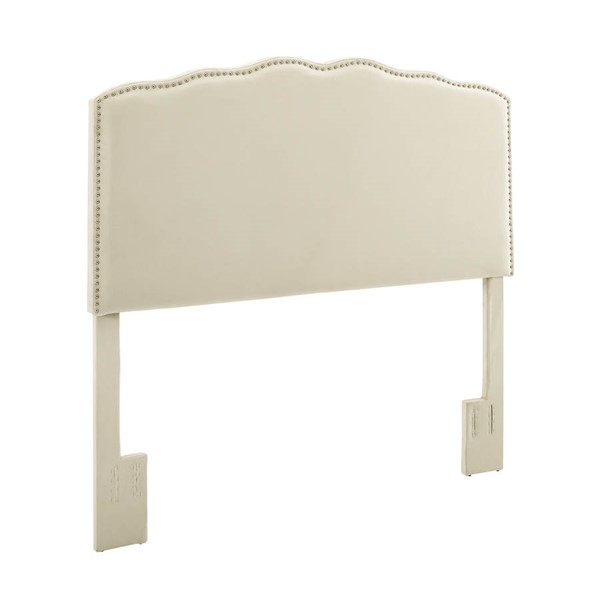 Home Meridian White Fabric Full Queen Panel Headboard RH-DS-2532-250-1