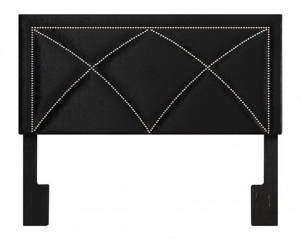 Transitional Black Wood Fabric Queen Upholstered X-Nail Headboard RH-DS-2533-250-208