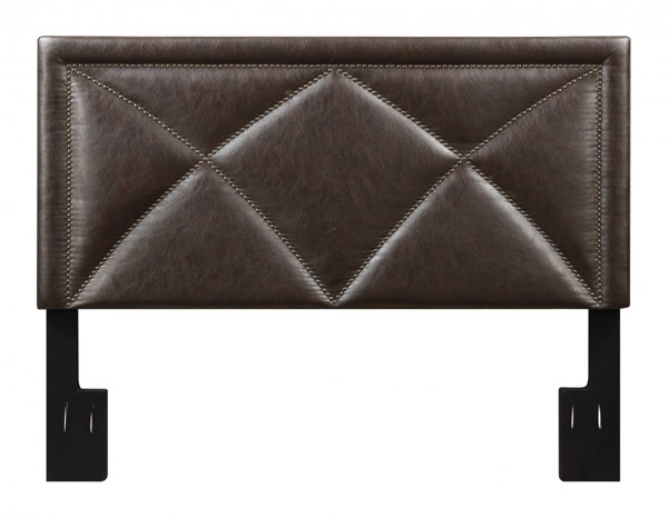 Transitional Brown Bonded Leather Wood Queen Upholstered Headboard RH-DS-2533-250-299