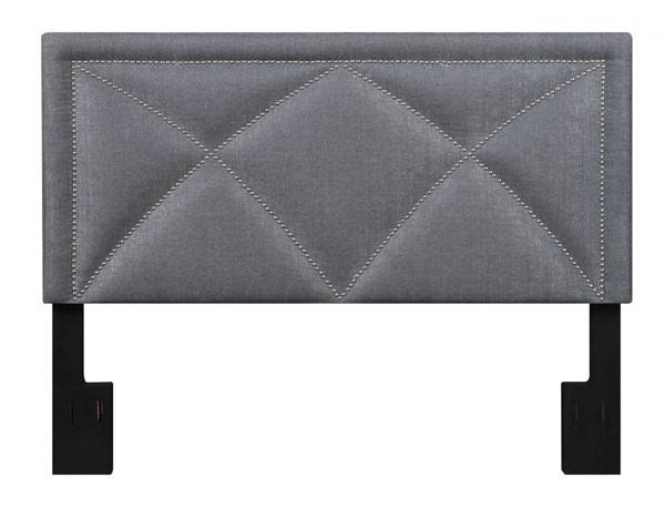 Transitional Grey Wood Fabric Queen Upholstered X-Nail Headboard RH-DS-2533-250-422