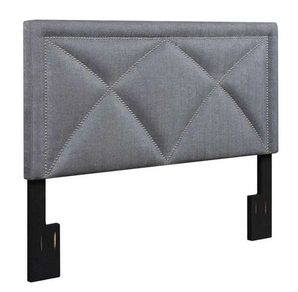Transitional Grey Wood Fabric King Upholstered X-Nail Headboard RH-DS-2533-270-422