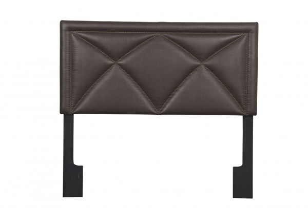 Transitional Brown Bonded Leather Wood King Upholstered Headboard RH-DS-2533-270-299