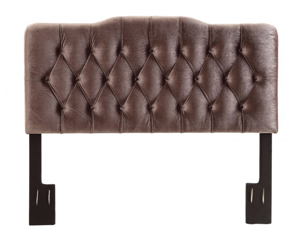 Elegant Brown Velvet Slate Hardwood Upholstered Queen Headboard RH-DS-2534-250-207