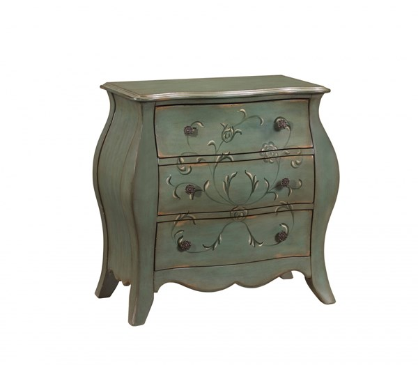 Traditional Green Wood French Base Bombay Chest RH-DS-2549-850