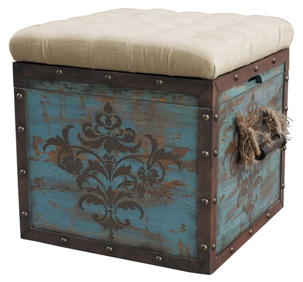 Rustic Blue Hardwood Tufted Crate Storage Ottoman RH-DS-597013