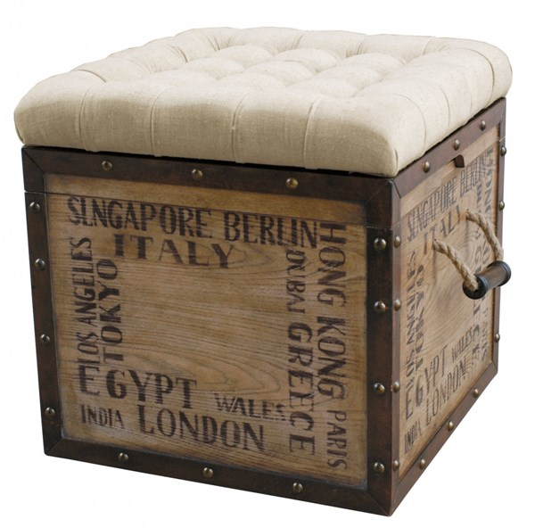 Rustic White Hardwood Tufted City Crate Storage Ottoman RH-DS-597014