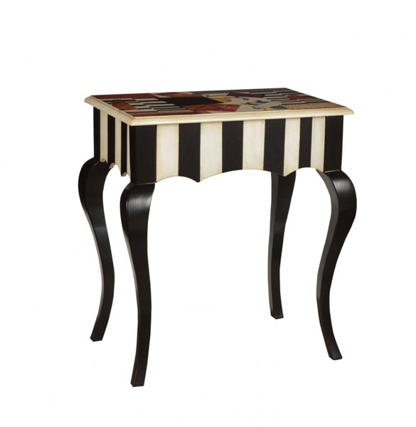 Black Wood Rectangle Accent Table W/hand Painted RH-DS-597116