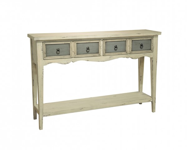 White Hardwood Two Tone Distressed Console Table RH-DS-641102