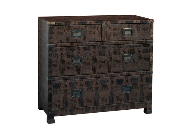 Contemporary Brown Hardwood Faux Reptile Skin Drawer Chest RH-DS-641156