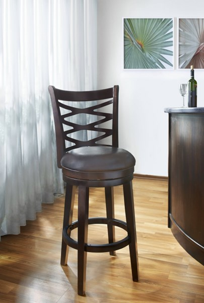 Contemporary BrownWood Bonded Leather 30 Inch Swivel Barstool RH-DS-698-501-T