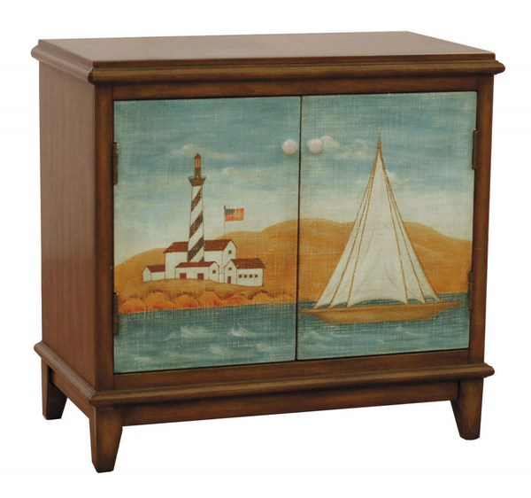 Casual Brown Wood Rectangle Hand Painted Accent Chest RH-DS-730006
