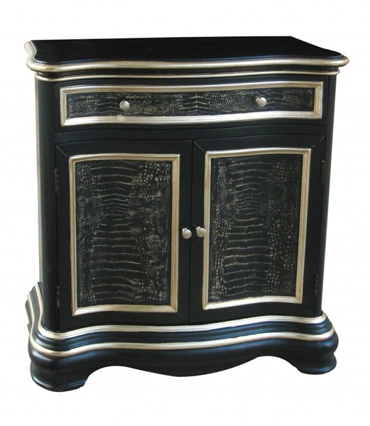Classic Black Silver Wood Rectangle Hall Chest RH-DS-730016