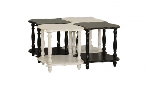 4 Pack Black White Wood Square Accent Tables RH-DS-730076