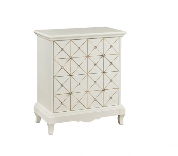 White Wood Chairside Cabinet W/2 Drawers RH-DS-766001