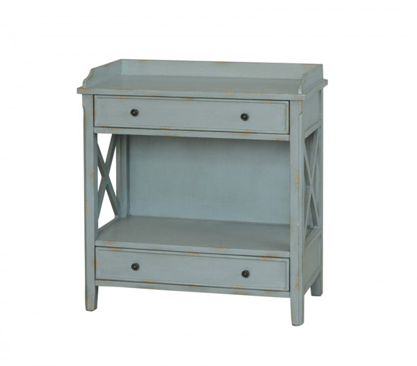 Blue Wood Rectangle Chairside Cabinet W/drawer RH-DS-766011