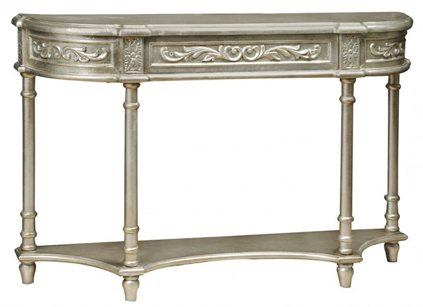 Silver Hardwood Carved Overlay Console Table RH-DS-766058