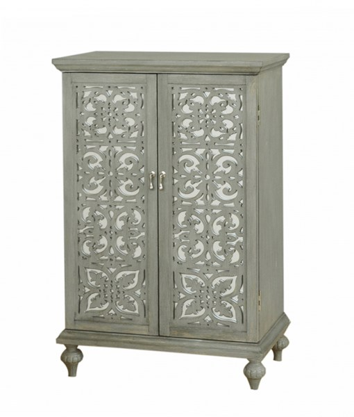 Grey Wood Glass Wine Cabinet W/Stemware Holders RH-DS-766186