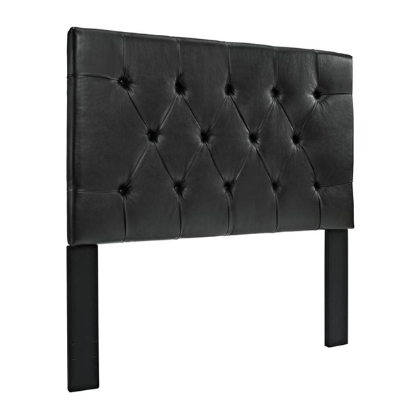 Black Brown Wood Faux Leather Tufted Full/Queen Headboard-4/6-5/0 RH-DS-8624-250