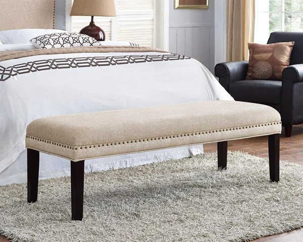 Transitional Beige Fabric Hardwood Nail Head Trim Upholster Bed Bench RH-DS-8632-400