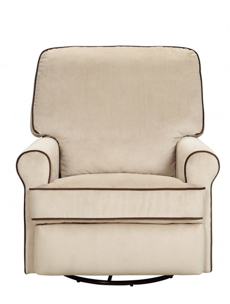 Birch Hill White Fabric Coffee Piping Metal Swivel / Glider Recliner RH-DS-913-006-175