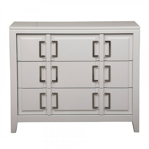 Transitional White Hardwood Solids Buckle Hardware Drawer Cabinet RH-DS-A092003
