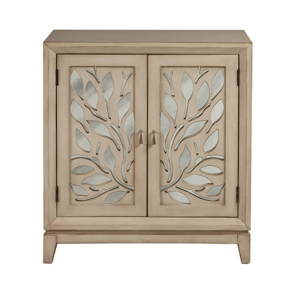 Traditional Beige Wood Cut Out Floral Pattern Door Cabinet RH-DS-A092004