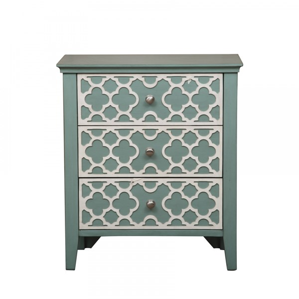 Elegant Green Hardwood Seafoam Quatrefoil Overlay Drawer Chest RH-DS-A092006