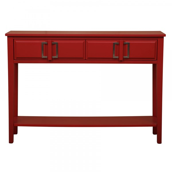 Transitional Red Hardwood Solids Buckle Hardware Console Table RH-DS-A092009