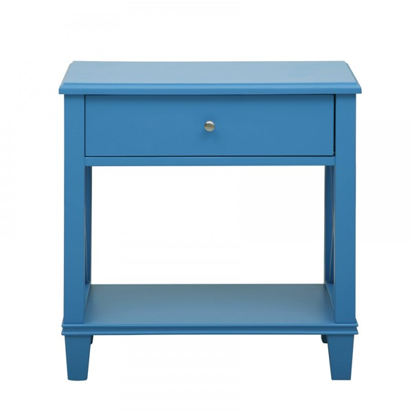 Transitional Blue Wood Metal Side Guides Drawer Side Table RH-DS-A092016