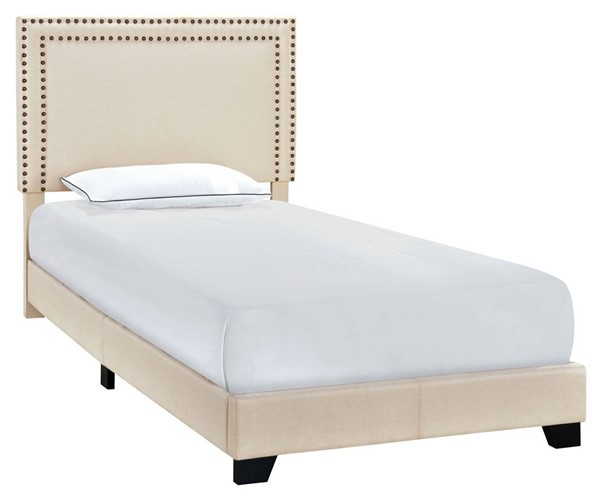Home Meridian Cream Fabric Twin Platform Bed RH-DS-A123-288-104