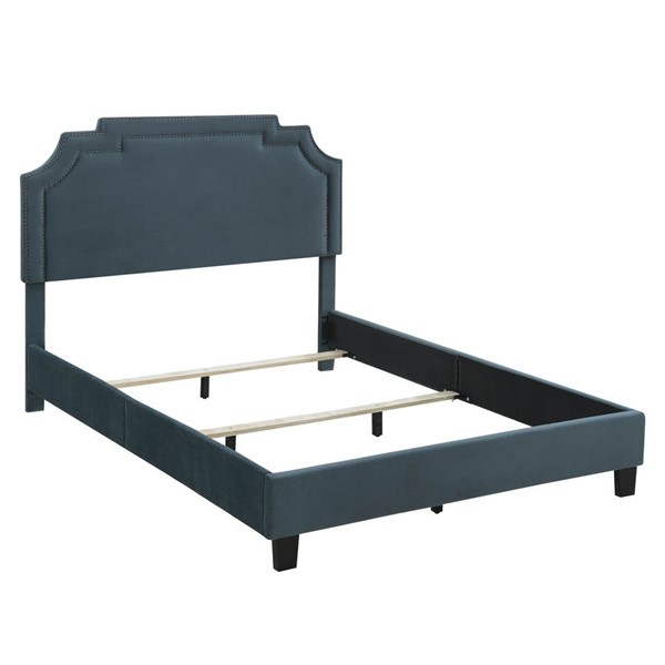 Home Meridian Blue Nailhead Queen Platform Bed RH-DS-D004-290-1