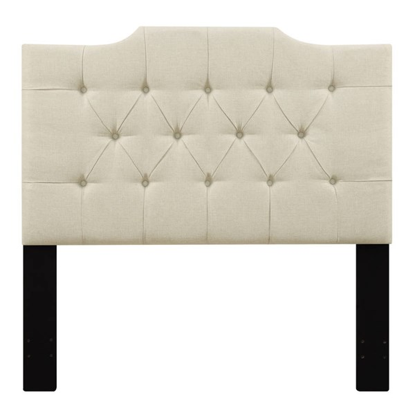 Traditional Beige Fabric Hardwood Tufted King Upholstered Headboard RH-DS-D014-270-433