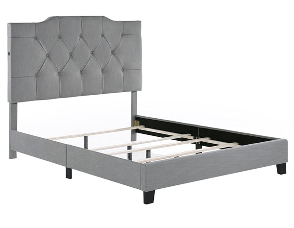 Home Meridian Hanover Ash Grey Tufted Queen Bed RH-DS-D014-290-372A
