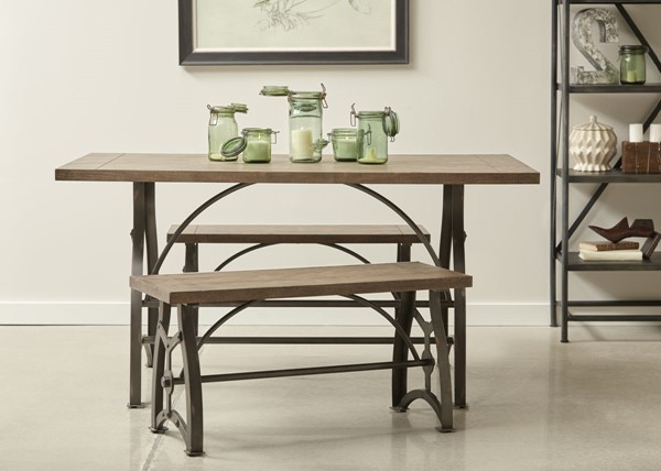 Home Meridian Rosebank Wood and Metal Dining Table with Two Benchs RH-DS-D088-DR-K1